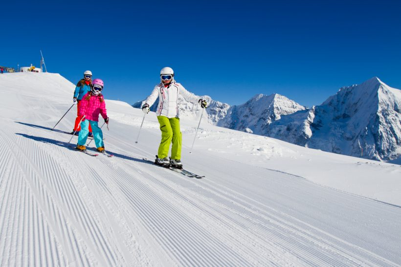 ski lesson with kids